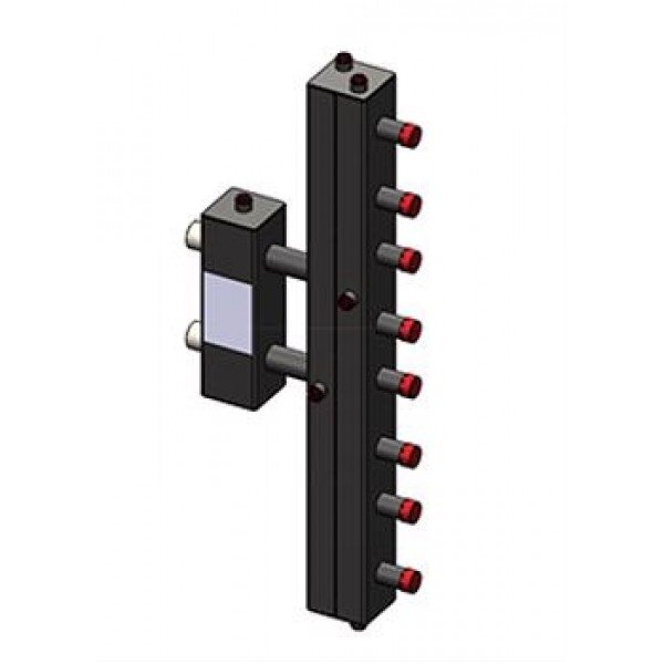Гидроразделитель Zota с коллектором вертикальный, 4 контура, до 70 кВт